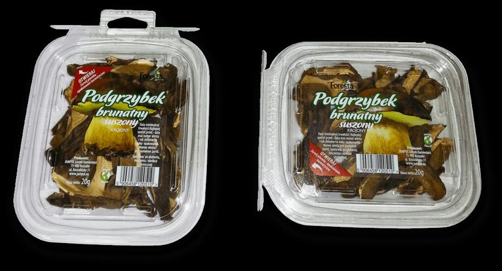 plastikowe opakowania z suszonymi podgrzybkami brunatnymi